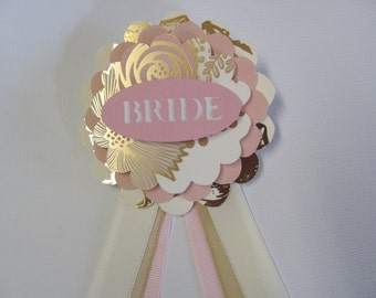 Bride to Be Badge, Bride Pin, Mother of the Bride, Matron of Honor, Bridesmaid Badge