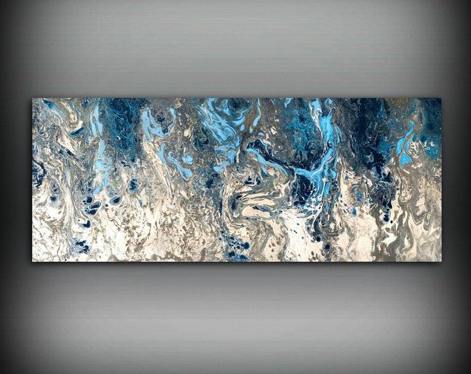 ORIGINAL Painting, Navy Blue and Gray Painting Abstract Painting, Blue Painting Wall Hanging, Blue and White Art, Modern Wall Decor 16 x 40