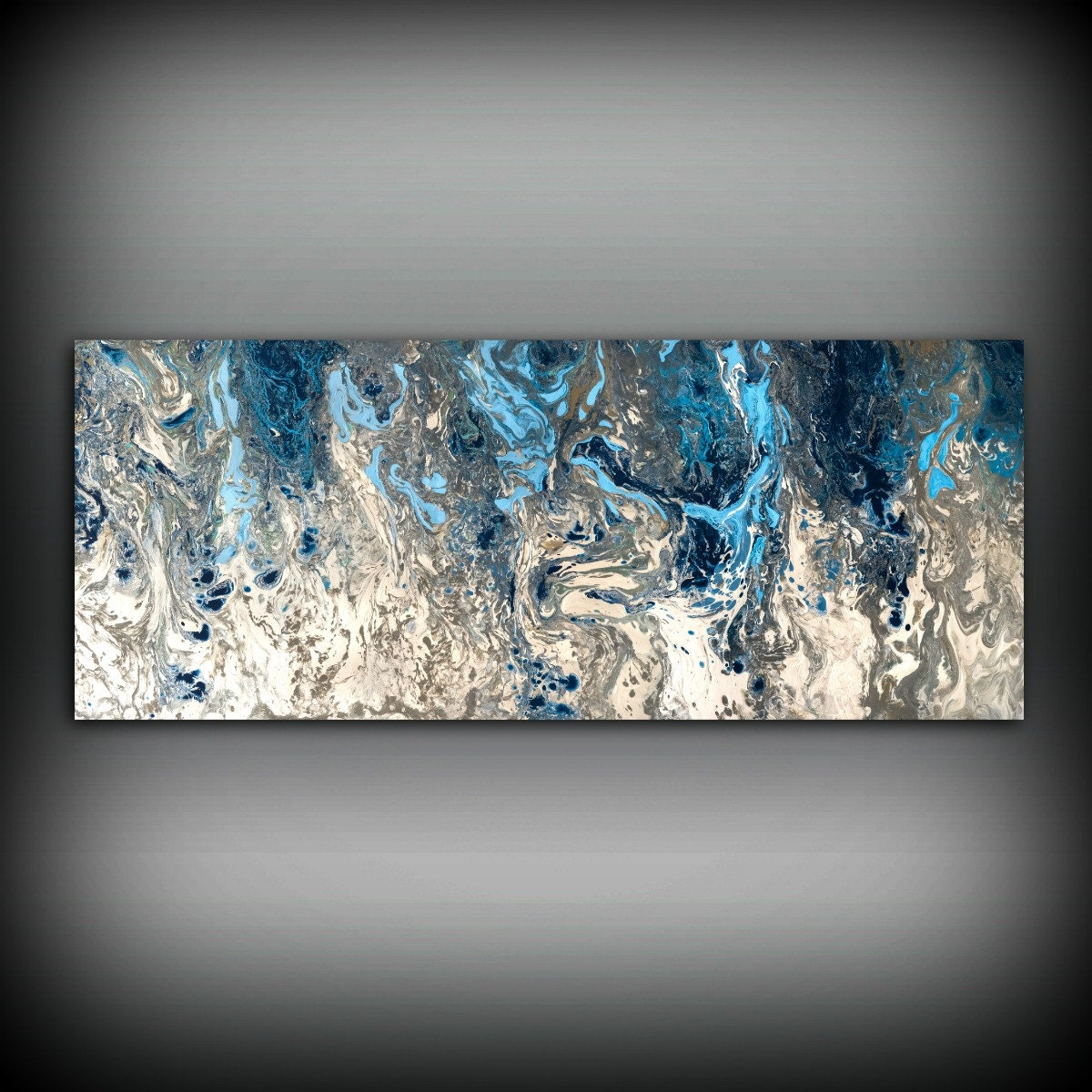 Sold Original Abstract Painting Pearl White Blue Wall Art: ORIGINAL Painting, Navy Blue And Gray Painting Abstract
