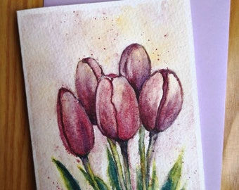 Tulip Flower Original Watercolor painting card A6