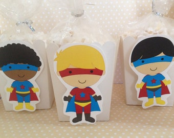 Superhero Boys and Girls Party Popcorn or Favor Boxes - Set of 10