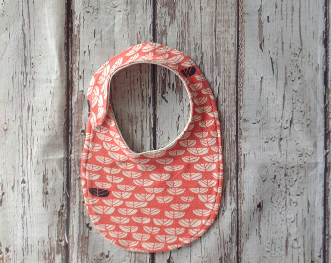 Coral baby bibs, Organic Baby Clothes, Expecting mom gift, Organic Baby shower gift, Drool bib, Dribble bib, Floral, Flowers, Navy