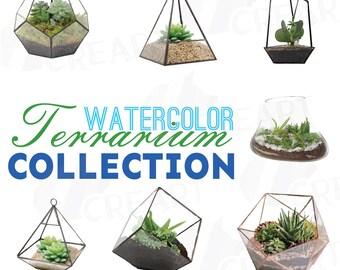 Watercolor Terrarium cliparts, Succulent Garden, Glass Terrarium, Succulent Wedding digital clip art