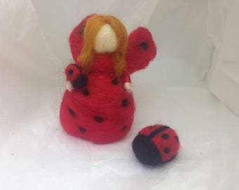 Ladybird Girl Wool Waldorf Doll Handmade Needle Felted Soft Toy Ornament Decoration Summer Fairy Cute Red Insect Ladybug Unique Free Gift