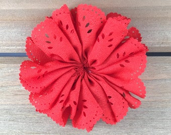 Red eyelet flower, red flower set of 3, flower hair clip, DIY hair bows, DIY hair accessories, headband supplies, DIY infant headband