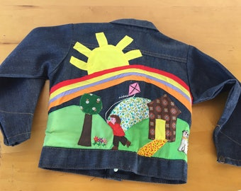 1970's MoD ArT KiDs JEaN JacKeT EmBRoiDeReD APPLiQue GRaiNy DeNiM sHiRt SToRy JacKeT USA