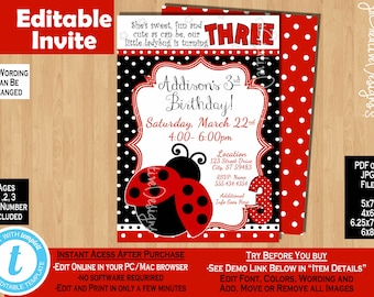 3rd Birthday invitation Girl third birthday invitation Ladybug invitation 3 years lady bug invitation ladybug party ladybug birthday party