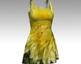 Yellow Dress, Flower Dress, Yellow Flower Dress, Floral Dress, Yellow Floral Dress, Flare Dress, Skater Dress, Fitted Dress, Bodycon Dress