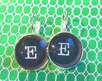 Letter E typewriter key glass cabochon earrings - 16mm