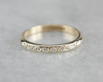 Diamond Wedding Band in Yellow Gold, Anniversary Band, Stacking Band FU30H6D7-P