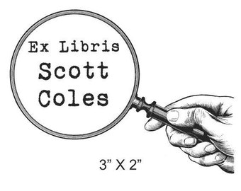 Personalized Magnifying Glass Mystery Ex Libris Bookplate Rubber Stamp C21