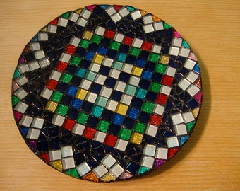 Mosaic Plate made with Mini Crystal and Metallic Glass Tiles