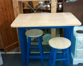 Breakfast bar **SOLD** beautifully restored and stripped to reveal Scandinavian pine with vibrant blue legs and accompanying two chairs.