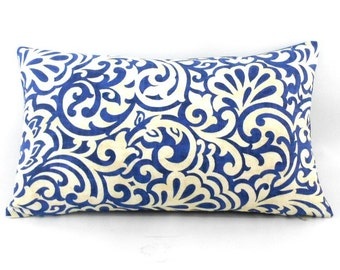 Free shipping/BLUE PILLOW Cover LUMBAR 12x20inches-Waverly fabric-Blueberry fabric-Swirly Floral Print-Decorative pillow-Throw pillow-Cotton