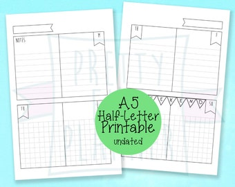 A5 Planner Inserts / Half Letter Printable wo2p