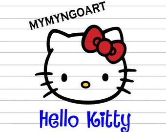Hello Kitty Svg, Eps, Dxf, Pdf, Png, Jpe for Cricut and Silhouette-Digital Download.