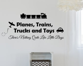 Boy Nursery Wall Decals Planes Trains Trucks And Toys Decal Vinyl Sticker Baby Room Home Decor Art Murals Ms706