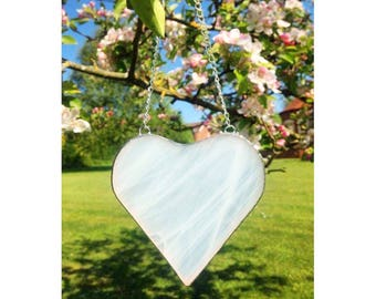Stained Glass White Heart Suncatcher Decoration