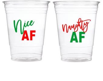Naughty and Nice AF Cup Labels, Christmas Cup Label, Christmas Party Cups, Labels, Stickers, Christmas Party Decoration, Naughty AF, Nice AF