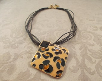 Womens Lepoard Print Pendent With Six Strand Black Cord And Extender