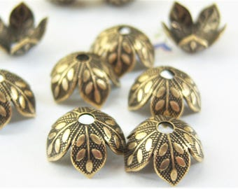 6 -Antiqued brass 8mm leaf petal bead caps - ZK215