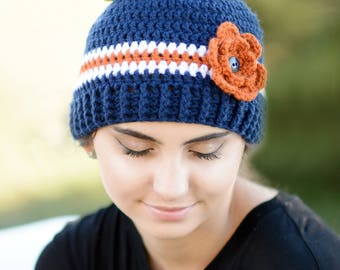 Crochet Messy Bun Beanie, Flower Messy Bun Hat, Ponytail Hat, Crochet Ponytail Hat, Blue White and Orange Messy Bun, Women's Winter Hat