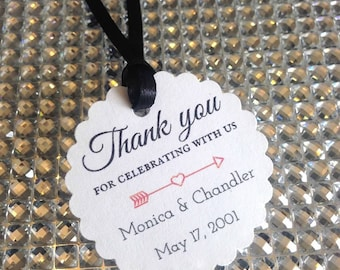 wedding favor tags, thank you tags, personalized wedding favor tags, pretty favor tags