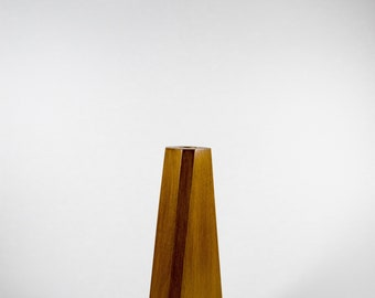 Handcrafted Solid Geometrical Wooden Vase for Artificial Flowers