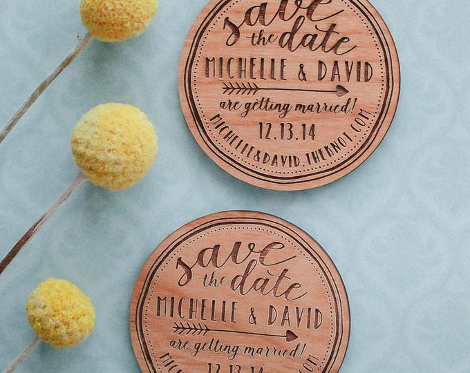 Featured listing image: Save the Date Wood Magnets,  Engraved Wood Wedding Favors, Wedding Gifts, Wedding Magnets, Wood Invitation, Wood Slice Magnet