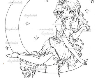 Stars Dream - Digital Stamp Instant Download / Cresent Moon Star Fairy Girl by Ching-Chou Kuik