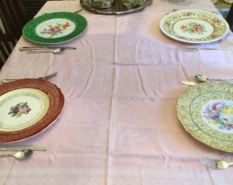 """46"""" x 44""""-Vintage Pale Pink with White Linen Embroidered Flowers Tablecloth/Table Covering/Fabric/Napkins"""