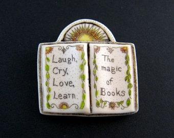Book reading scrimshaw technique teachers gift pin pendant