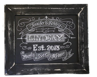 Chalkboard Art Sign Framed 11 x 14  Personalized