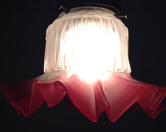 Antique Pinched Ruffled Cranberry Color And Frosted White Glass Lamp Shade,Victorian  Home