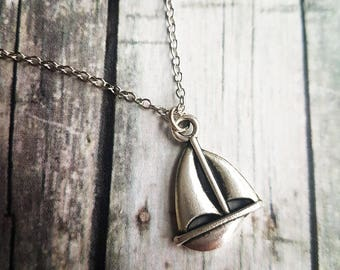 Sailboat necklace, sailing boat  sail nautical, lucky choker necklace, fishing naval sailor necklace, gifts for her, Valentines Day Gift