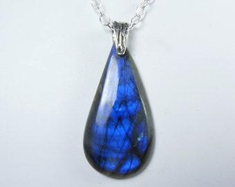 HUGE Blue Labradorite and Sterling Silver Necklace, LARGE Blue Labradorite and Silver Pendant, Vibrant Cobalt Blue and Royal Blue Flash