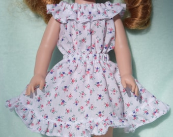 Pretty white peasant style dress in a pink and purple flower print fits 14.5 inch dolls