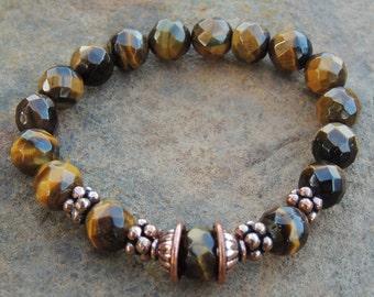 Faceted Tiger's Eye & Copper Stretch Bracelet