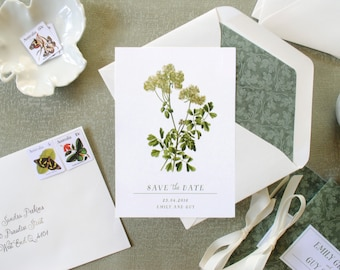 Print-It-Yourself Vintage Botanical Save the Date Cards, Custom Save the Dates -- Emily