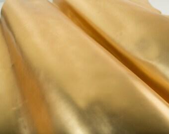 GOLD ITALIAN SAFFIANO Leather Calf Cow Hide Square Pieces Swatches Samples Scraps Scrap   5x5-20x20in.