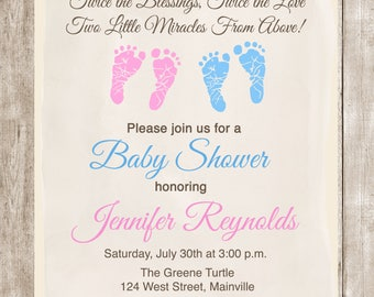 Twin shower etsy twins baby shower invitation twins boy girl baby shower footprints invitation any genders digital or printed filmwisefo
