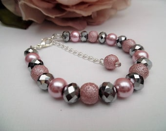 Dusky Pink and Silver Crystal Pearl Bracelet, Pearl Bridesmaid Jewelry, Contemporary Wedding Jewelry, Pink Bracelet, Jewelry Gift for Her