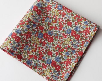 Liberty pocket square - Floral pocket square - Emma and Georgina blue and red pocket square