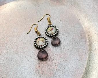 Travel Earrings, Map Earrings, Vintage Map, Gift for Traveler, Gift for Her, Fish Hook Map Earrings, Dangle Map Earrings, Rhinestones