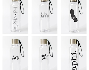 Alpha Phi Water Bottle / APhi Sorority Water Bottles / Pick from 6 Designs / A Phi Bottle / Alpha Phi Drinkware / Alpha Phi Tumbler
