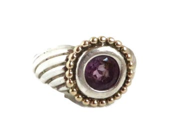 Amethyst Two Tone Ring, Vintage Sterling Silver Gold Plated Ring, Chunky Ribbed Ring, Size 7
