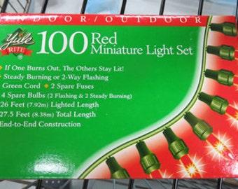 Lights Set - 100 Red - Green - Clear Minature Light Set - Indoor/Outdoor Lights