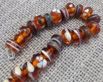 Lampwork Bead  - Transparent Brown - 23 pcs Glass Lampwork Beads Set