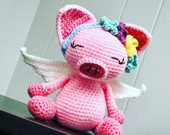 Crochet Pig Toy, Pig Amigrumi, Pig with Wings, MADE TO ORDER