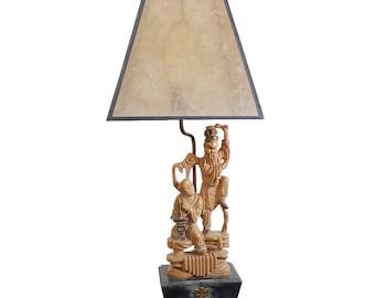Mid Century Modern Edward Stasack Asian Lamp Mica Shade Cerused Oak Base Signed